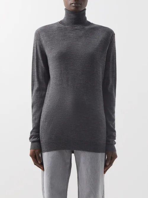 Valentino - Logo Print Cowl Neck Silk Satin Blouse - Womens - Navy White
