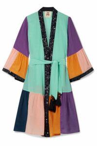 Figue - Nisha Sequin-embellished Color-block Silk Crepe De Chine Kimono - Turquoise