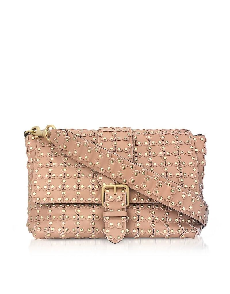 Red Valentino Flower Puzzle Nude Leather Shoulder Bag
