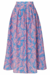 Jaline - Amy Printed Cotton And Silk-blend Midi Skirt - Pink