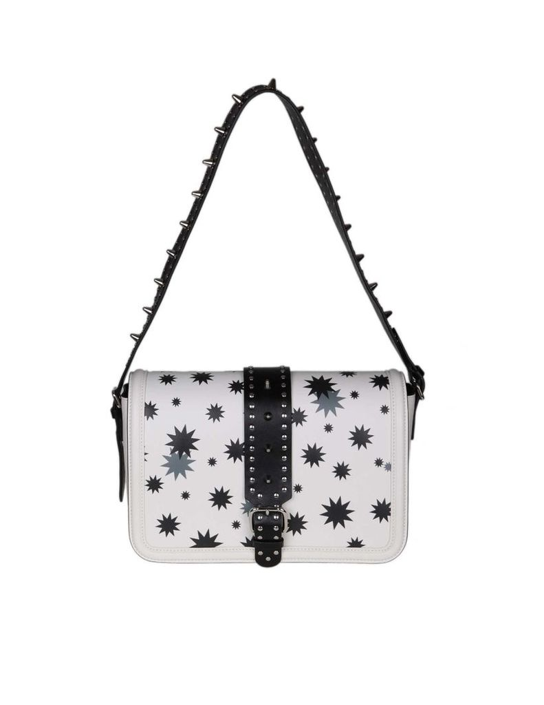 Red Valentino Shoulder Bag In White Leather With Print And Applied Studs