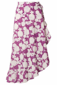 Miguelina - Liviona Ruffled Floral-print Cotton-voile Wrap Skirt - Violet