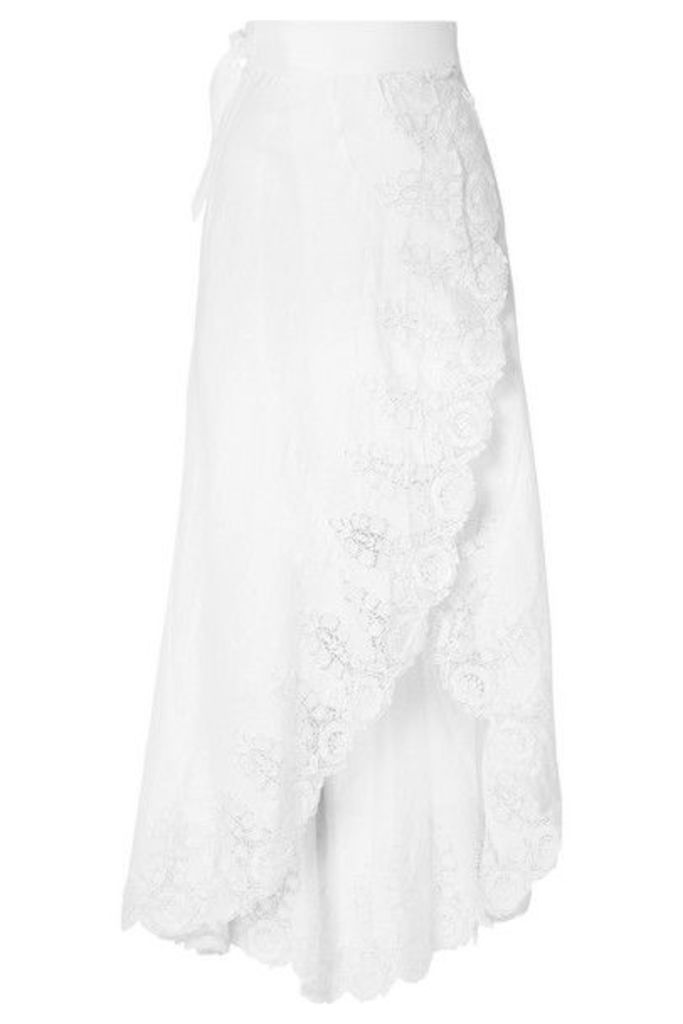 Miguelina - Clarice Guipure Lace-trimmed Linen Wrap Skirt - White