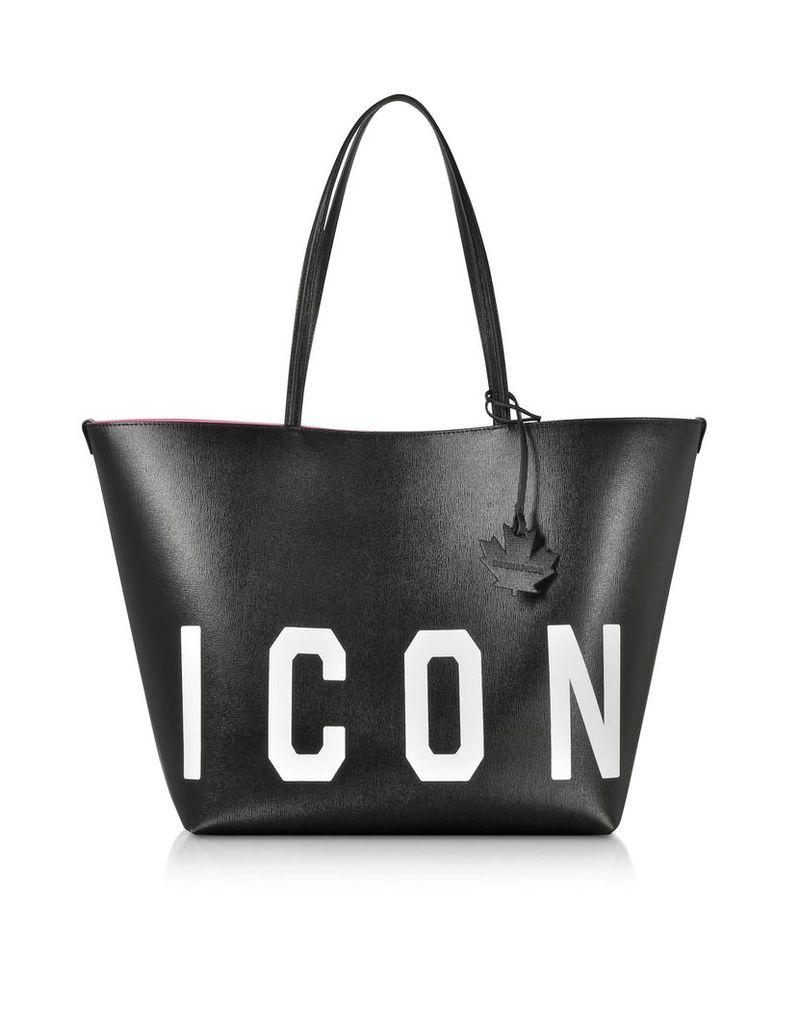 Dsquared2 Saffiano Leather Icon Traveler Tote Bag