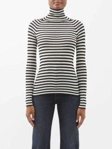 Valentino - Chevron Logo Print Silk Satin Dress - Womens - Brown White