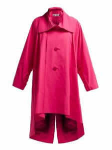 Issey Miyake - Oversized Pleated Collar Canvas Overcoat - Womens - Pink