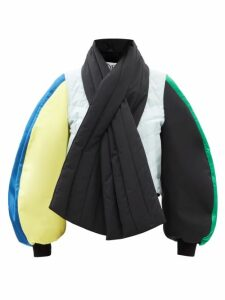 Balenciaga - Bi Colour Tie Waist Leather And Canvas Coat - Womens - Brown Multi
