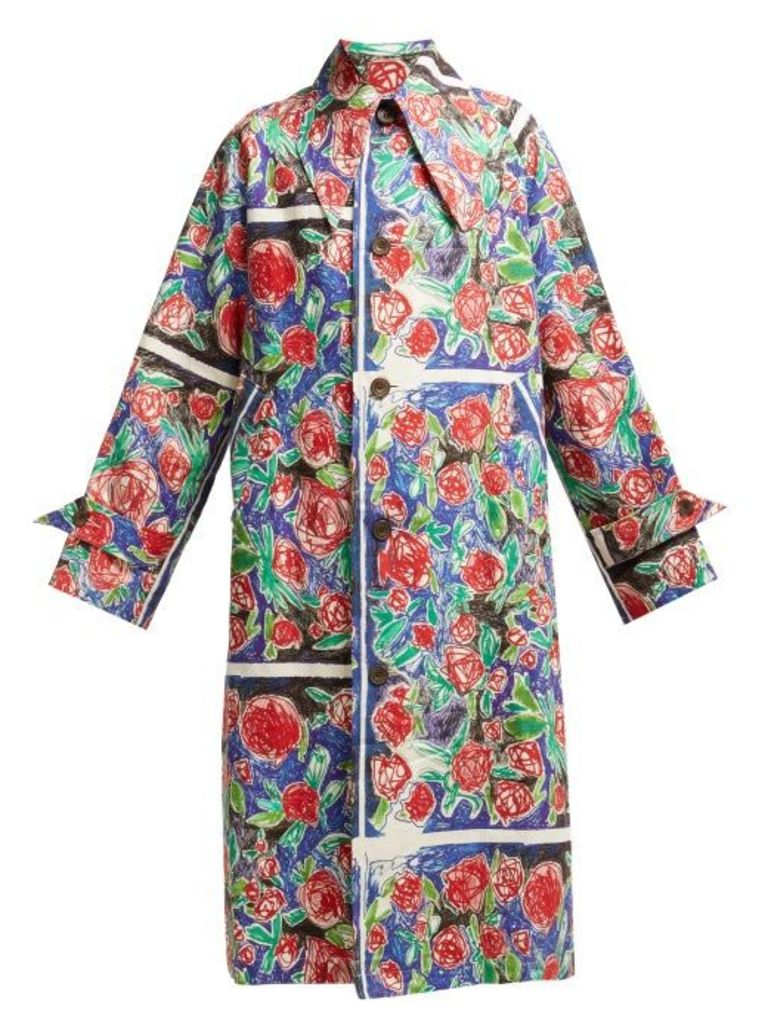 Charles Jeffrey Loverboy - Rose Scribble Print Linen Coat - Womens - Red Multi