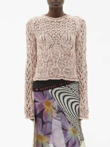 Marit Ilison - Fancy Zebra Stripe Cotton Blend Coat - Womens - Black White