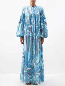 Prada - Geometric Jacquard Single Breasted Coat - Womens - Brown Multi