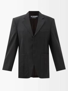 Marit Ilison - Reversible Single Breasted Floral Intarsia Coat - Womens - Grey Multi