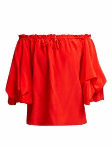 Diane Von Furstenberg - Georganne Off The Shoulder Silk Top - Womens - Red