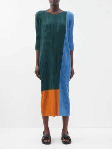 Raquel Diniz - Armonia Leopard Print Silk Satin Dress - Womens - Green Print
