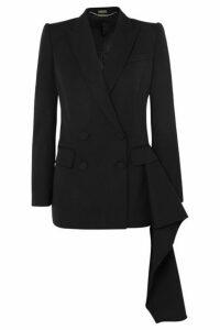 Alexander McQueen - Asymmetric Draped Grain De Poudre Wool Blazer - Black