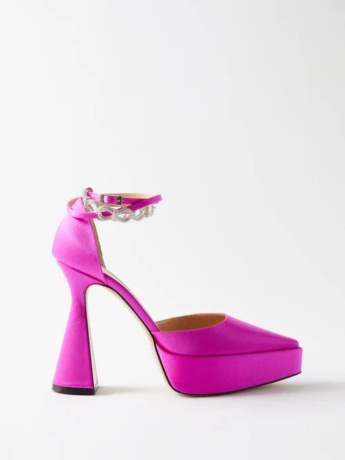 The Vampire's Wife - Festival Ruffled Silk Satin Maxi Dress - Womens - Pink