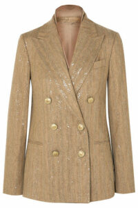 Brunello Cucinelli - Double-breasted Sequined Herringbone Cotton-blend Blazer - Beige