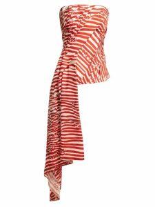 Halpern - Striped Asymmetric-draped Bustier Top - Womens - Red White