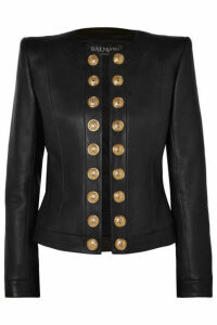 Balmain - Button-embellished Collarless Leather Blazer - Black