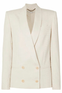 Stella McCartney - Double-breasted Croc-effect Satin-jacquard Blazer - Ivory