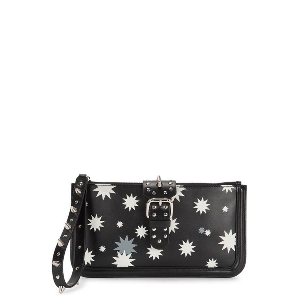 RedV Studded Star-print Leather Clutch
