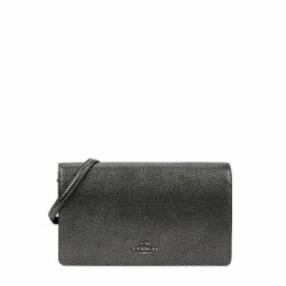 Coach Foldover Gunmetal Leather Cross-body Bag