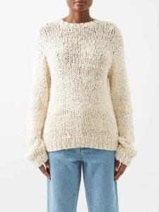 Bottega Veneta - Intrecciato Grid Knit Cashmere Roll Neck Sweater - Womens - Red