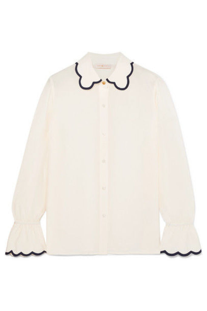 Tory Burch - Scalloped Silk Crepe De Chine Shirt - Ivory