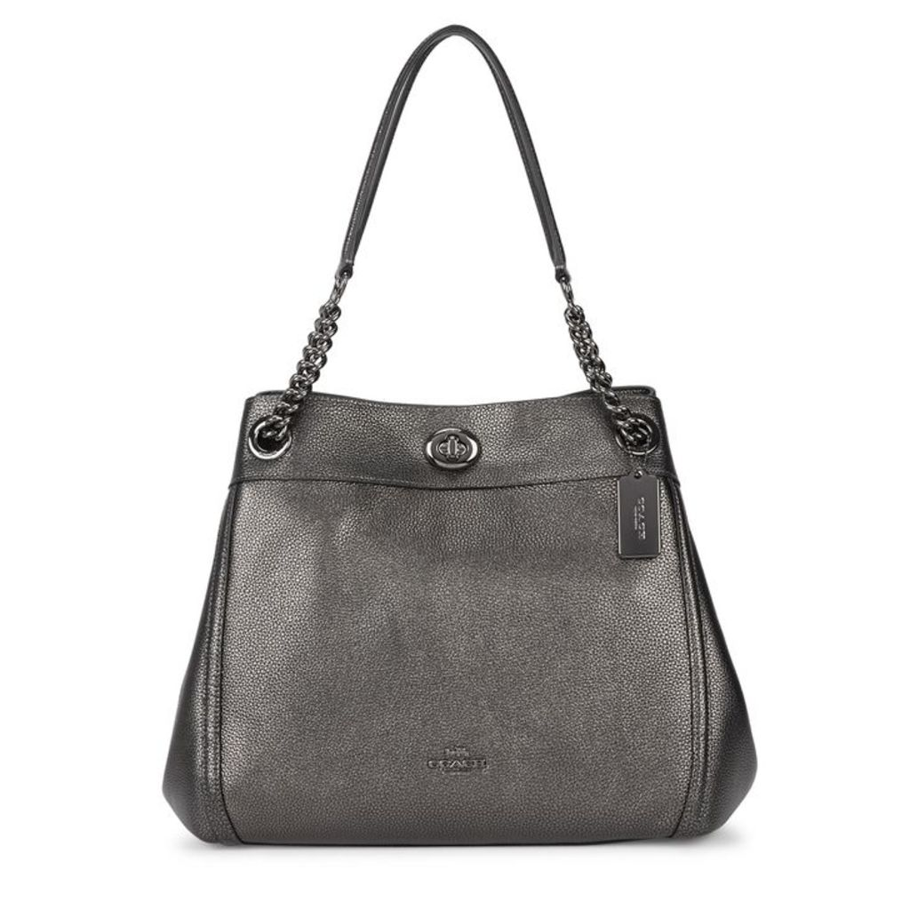 Coach Turnlock Edie Gunmetal Leather Shoulder Bag
