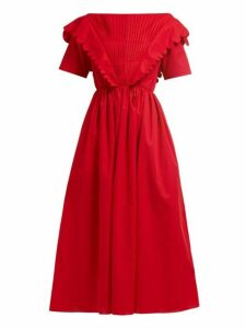 Horror Vacui - Flabella Scalloped Trim Cotton Dress - Womens - Red
