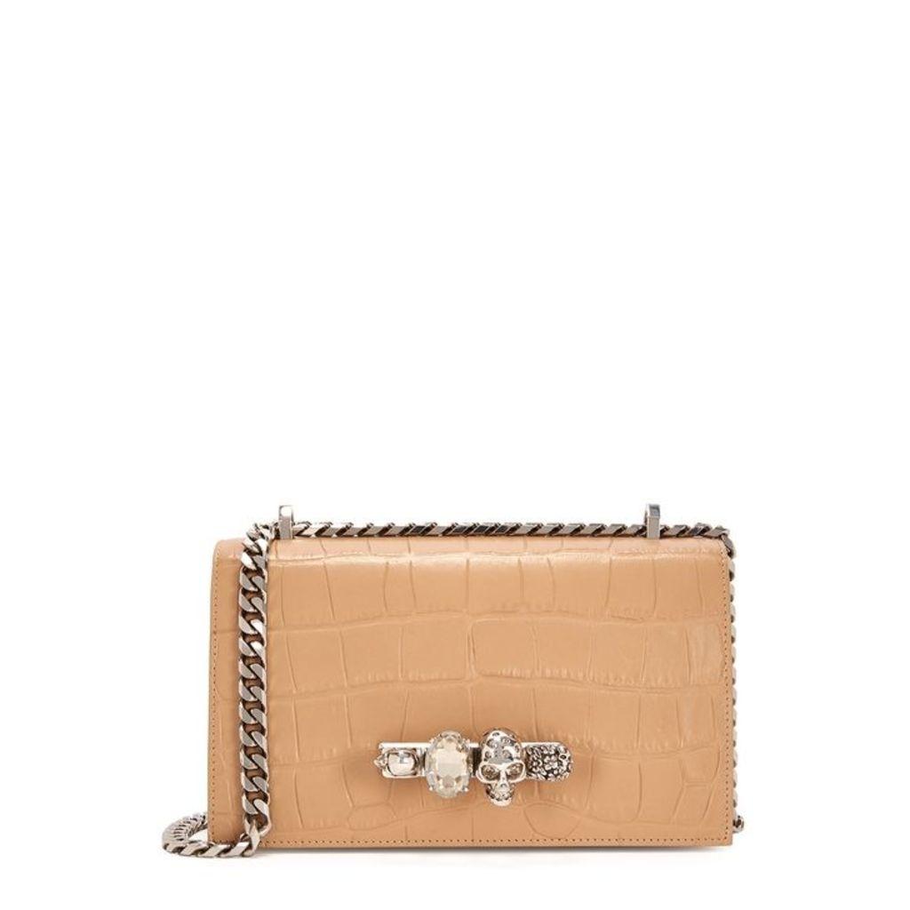 Alexander McQueen Jewel Camel Leather Shoulder Bag