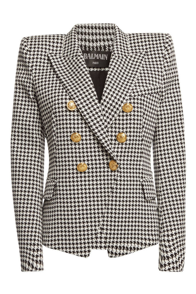 Balmain Houndstooth Cotton Blazer with Embossed Buttons