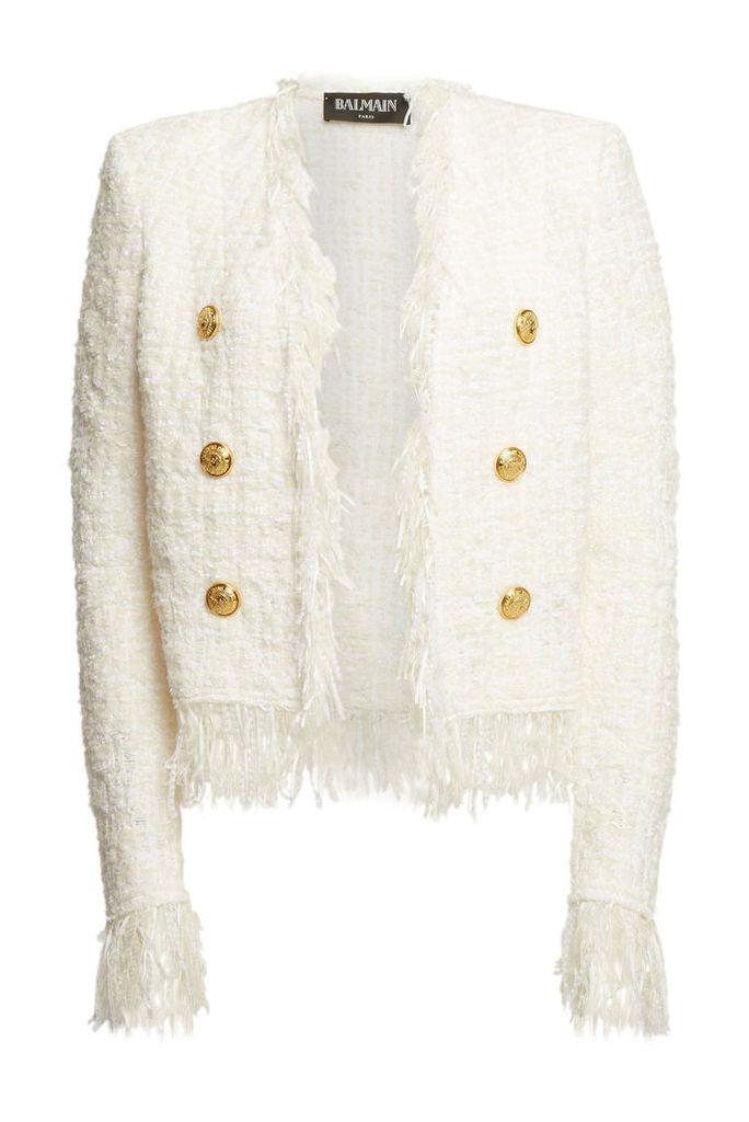 Balmain Tweed Jacket with Fringe