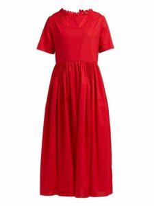 Horror Vacui - Fiorina Cotton Midi Dress - Womens - Red