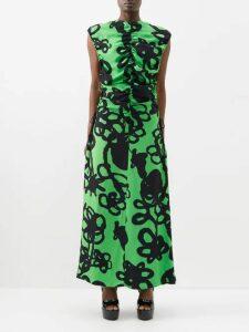 Bottega Veneta - Panelled Cotton And Silk Blend Skirt - Womens - Blue