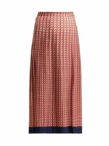 Valentino - Optical Print Pleated Midi Skirt - Womens - Red Multi