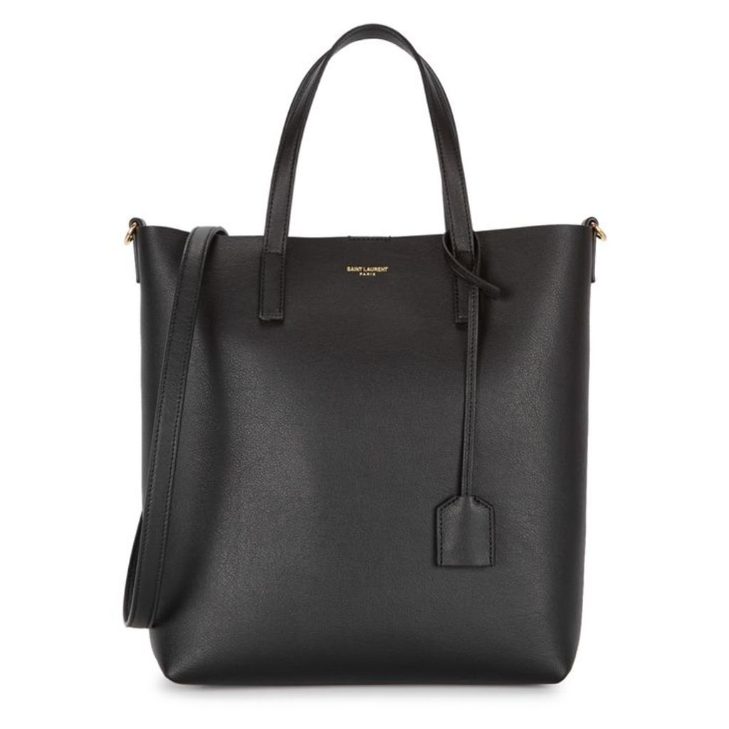 Saint Laurent North/South Black Leather Tote