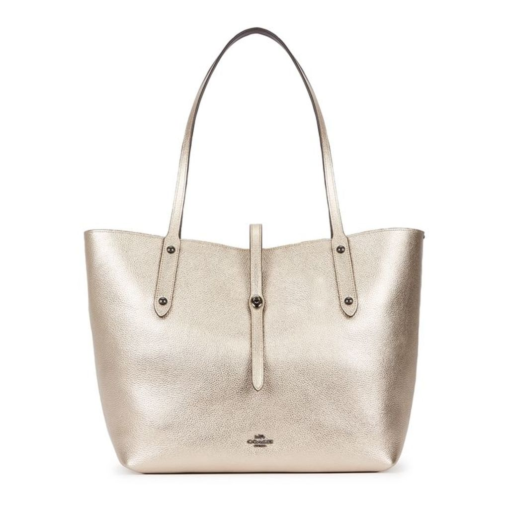 Coach Market Gold Pebbled Leather Tote