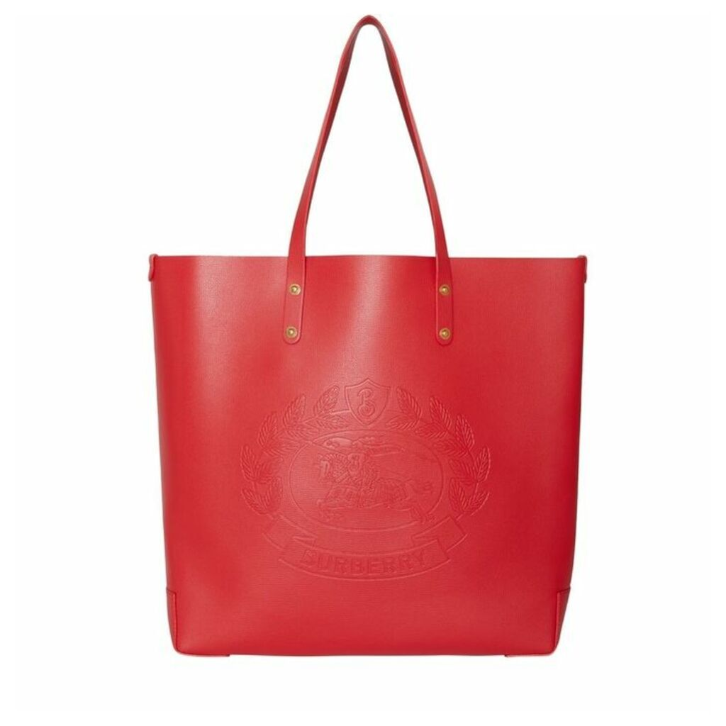 Burberry Embossed Crest Leather Tote