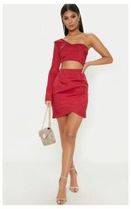 Burgundy Hammered Satin One Shoulder Cut Out Bodycon Dress, Red