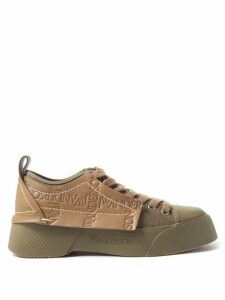 Msgm - Pleated Leopard Sequinned Skirt - Womens - Black Gold