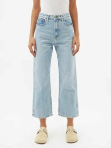 Vetements - Rose Print Scarf Wool Midi Skirt - Womens - Blue Multi