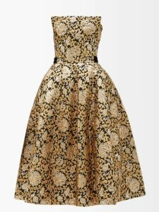 By Walid - Daisy Floral Print Cotton Canvas Midi Skirt - Womens - Blue Print