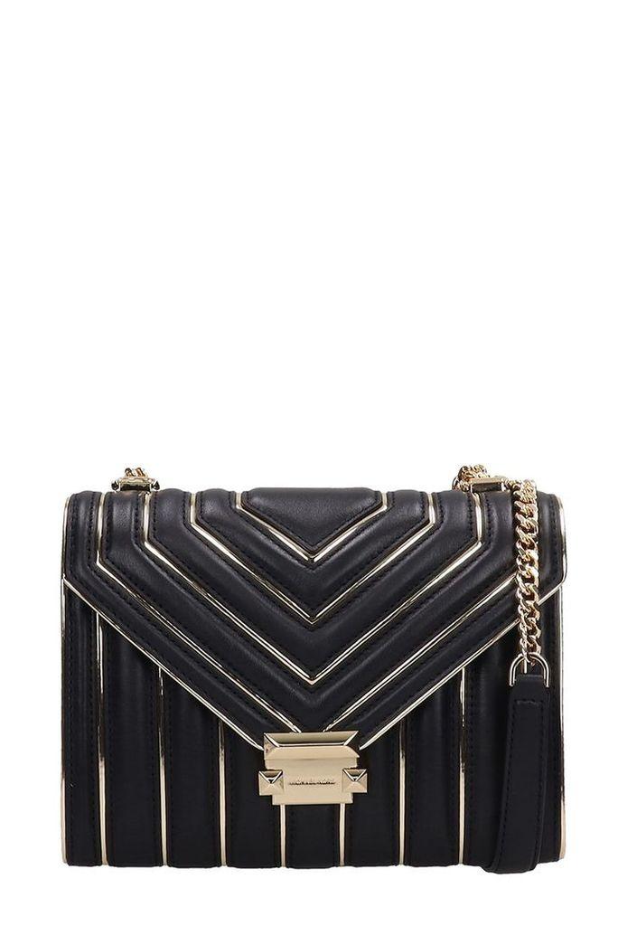 Michael Kors Black-gold Quilted Leather Lg Bag
