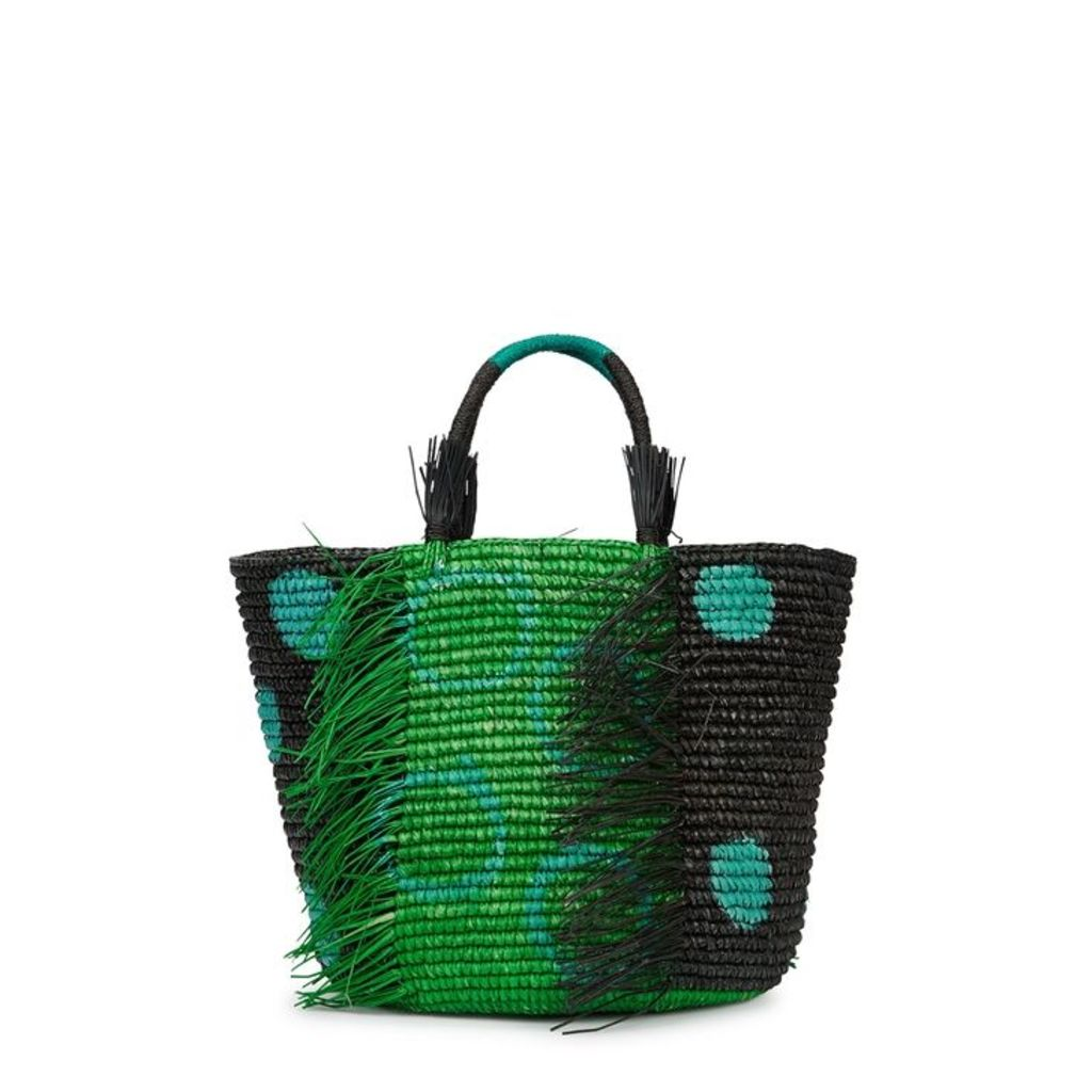 Sensi Studio Maxi Printed Straw Basket Bag