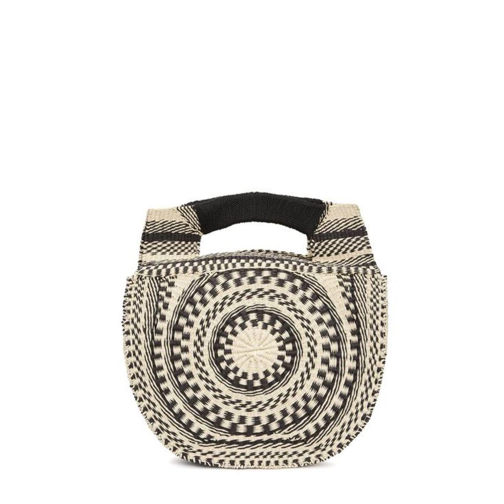 Sensi Studio Cream And Black Straw Basket Bag