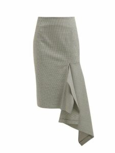 Balenciaga - Houndstooth Wool Blend Godet Midi Skirt - Womens - Black White