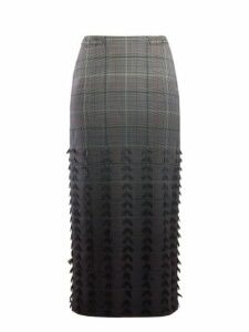 Gabriela Hearst - Sabina Dégradé Check Wool Blend Pencil Skirt - Womens - Grey Multi