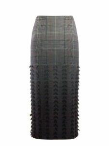 Gabriela Hearst - Sabina Dégradé Check Wool Blend Pencil Skirt - Womens - Grey Multi