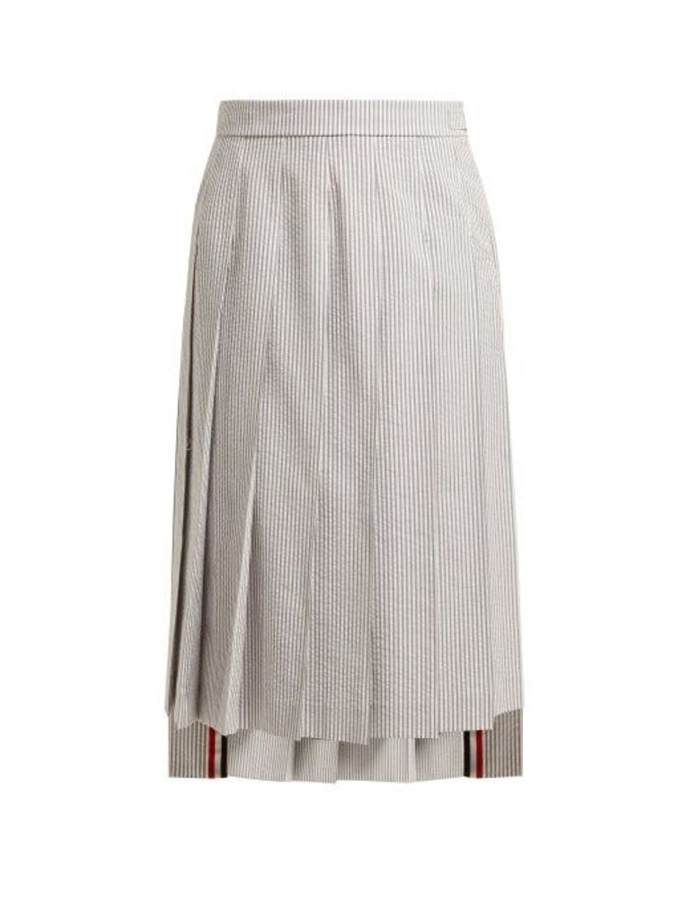 Thom Browne - Striped Cotton Seersucker Skirt - Womens - White Multi
