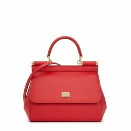 Dolce & Gabbana Miss Sicily Red Grained Leather Top Handle Bag